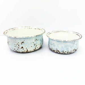 Rustic Farmhouse Vintage Enamel Metal Decor Bowls